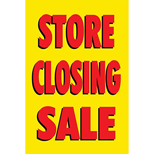HALF PRICE BANNERS | Store Closing Sale Vinyl Banner -Indoor/Outdoor 3X2 Foot -Yellow | Includes Zip Ties | Easy Hang Sign-Made in USA