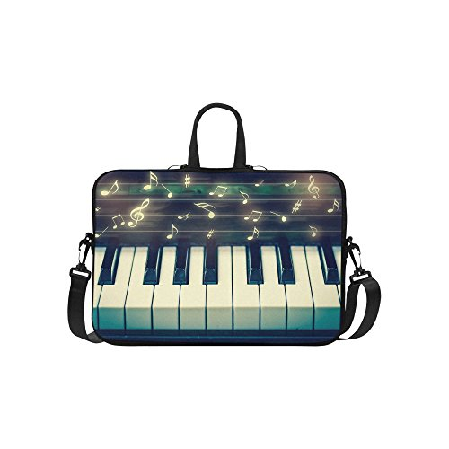 InterestPrint Music Note Laptop Sleeve Case Bag, Piano Music Notation Shoulder Strap Laptop Sleeve Notebook Computer Bag 13.3 Inch for MacBook Pro Air HP Dell