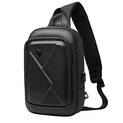 Arctic Hunter Sling Rucksack, Umhängetaschen Herren mit USB, Wasserdicht Schultertaschen für Wandern, Radfahren, Reisen, Freizeit