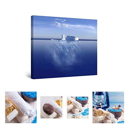 Eco Light Wall Art Bundle Sur Toile Fascinant Iceberg dans l'eau 80 x 80 cm pour décoration intérieure et Charmante de salle de bain Spa Collage Lot de 4 encadrée des illustrations pour décoration intérieure