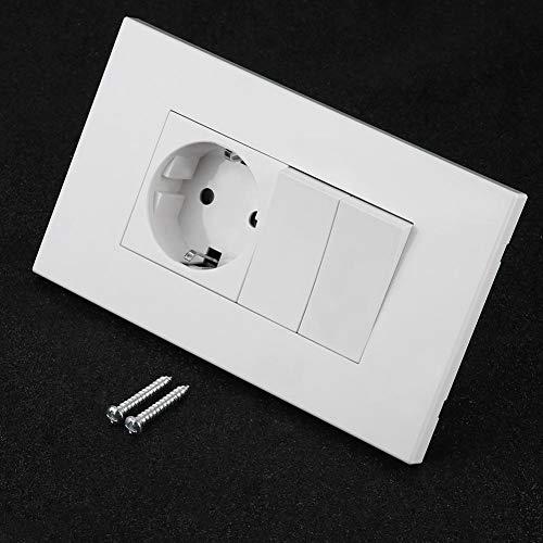 KSTE Solo enchufe montado en la pared del adaptador de enchufe del zócalo con el interruptor doble (GB Plug)
