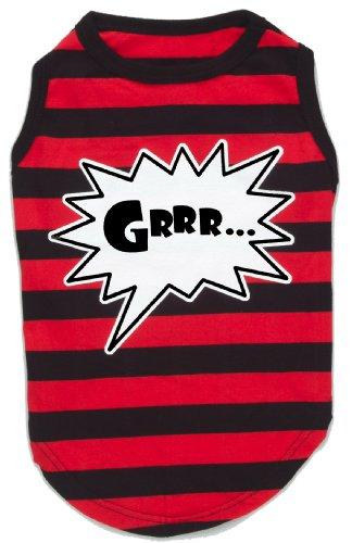 K9 Hond T-shirt met Grrr tekst, verpakt in doos, maat M, rood-zwart gestreept