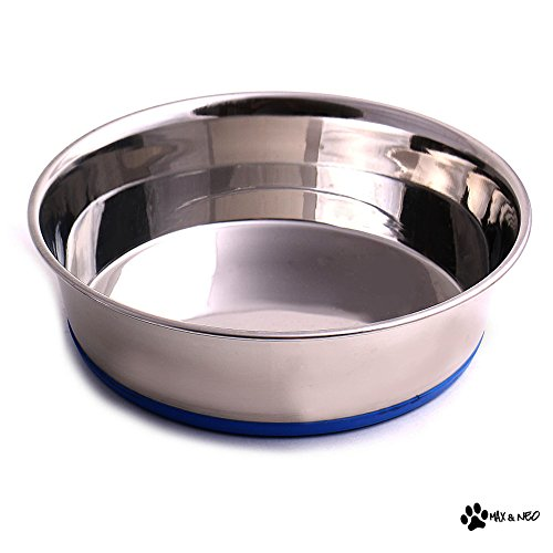 Max and Neo Heavyweight Non-Skid Rubber Bottom Stainless Steel Dog Bowl - We Donate a Bowl to a Dog Rescue for Every Bowl Sold (Medium - 50oz - 8' Diameter)