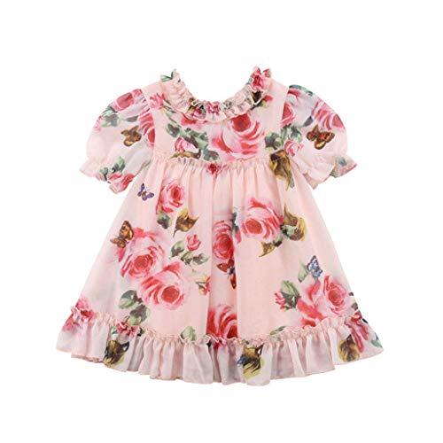 VJGOAL Chiffon Kleinkind Kinder Baby Mädchen Prinzessin Blumen Party Tutu Tüll Kleid Kleidung Dresses for Girl(Rosa,90)