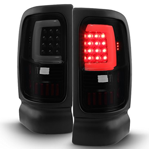 For Black Smoked 1994-2001 Dodge Ram 1500 2500 3500 LED Tube Tail Lights Lamp (Driver + Passenger) Pair