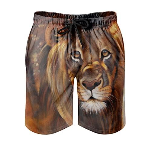 kikomia Bañador para hombre, estilo vintage, diseño de león, estampado tribal, ropa de playa con bolsillos, Hombre, Blanco, extra-large