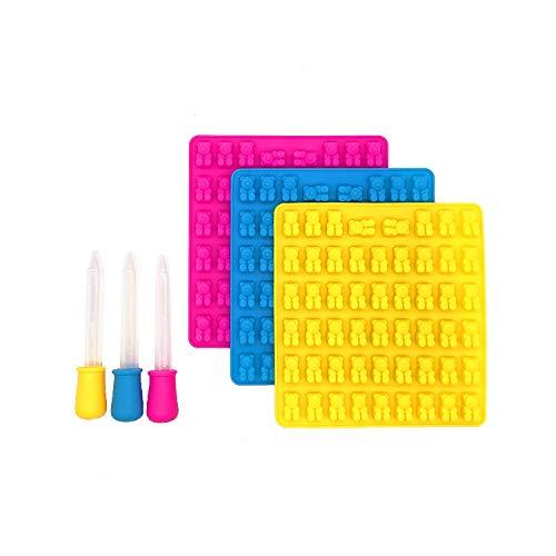 HelpCuisine® 3er Set Eiswürfelform – Eiswürfelbereiter und Pralinenformen - 100{f067fe1ad7d0ce1c5ee45375ae2d66abe21165e63049bbd49668206596d62be4} Lebensmittelsilikon- BPA frei- für Eiswürfel, Schokolade, Süßigkeiten – (3St. Gummibären Form + 3St. Dropper)