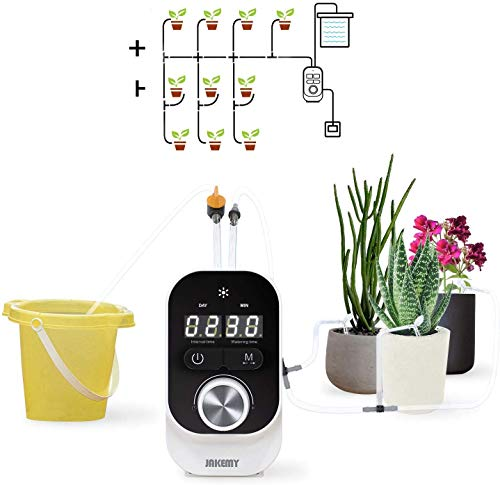 JAKEMY Automatic Drip Irrigation Kit,Mini Size Big Power Houseplants Self Watering System with 1-23 Hour & 1-30 Day Interval Programmable Timer,for 10 Potted Plants