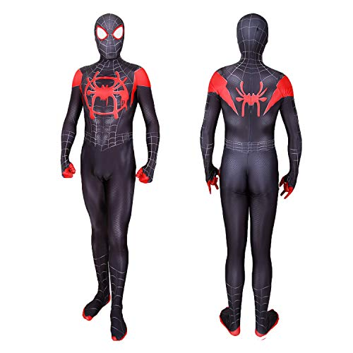 Spiderman Costume Into The Spider Verse Miles Morales Halloween Costumes Classic Cosplay Suit Adult Kids (Kids S(height:3'5''-3'9''), Black)