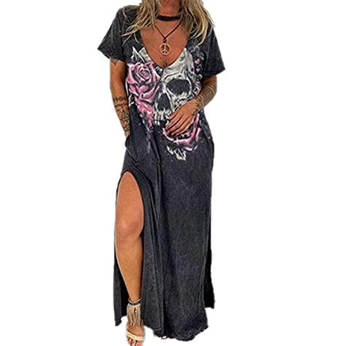 Camisa Holgada para Mujer Vestido Largo para Mujer Punk Cuello en V Sin Mangas Tallas Grandes Cami Vestidos Largos