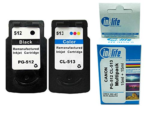 Cartucho Inklife compatible Canon PG-512 CL-513 Multipack para Canon Pixma IP2700 MP240 MP250 MP260 MP280 MP340 MP 480 MP 490 MP 492 MP 495 MP230 MX320 MX330 MX340 MX340 50 MX33. 60 MX410 MX420