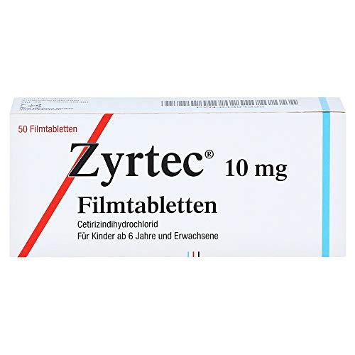 Zyrtec 10 mg Filmtabletten zur Linderung allergischer Rhinitis und Urtikaria, 50 St. Tabletten