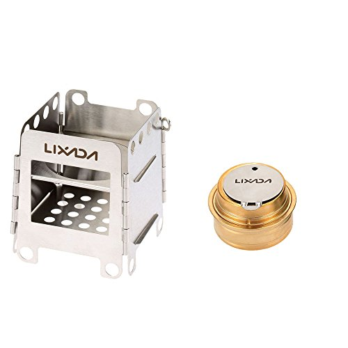 Lixada Camping Stove, Stainless Steel Folding Wood Stove+Alcohol Burner Pocket Stove+550ml Mug Titanium Cup for Outdoor Camping Cooking Picnic (Stove+Burner)