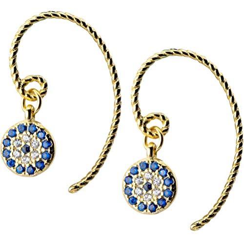 WOZUIMEI S925 Pendientes de Plata Mujer Ojos Del Diablo Diamante Lleno de Diamantes Pendientes Redondos Personalidad Pendientes Cortos Joyería Femeninaoro