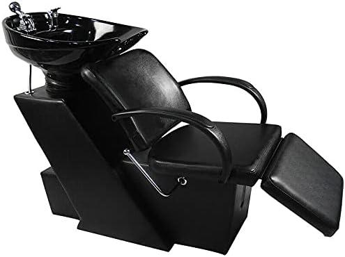 Artist Hand Shampoo Bowl and Chair Ceramic Bowl Shampoo Chair Adjustable Backwash Sink Salon Wash Unit Shampoo Station W/Adjustable Footrest
