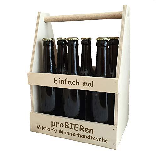 Männerhandtasche/Bierträger mit Spruch - inklusive Gratis Gravur | Geschenk zum Geburtstag oder Vatertag | Bierkorb (proBIERen)