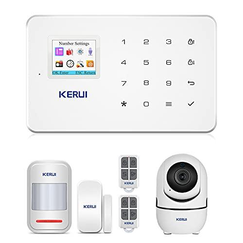 KERUI G18 APP Control Hogar del Alarma Sistema de Seguridad GSM Alarma Sensor de Ventana Puerta Magnético Inalámbrico, Detector Movimiento, Cámara IP Vigilancia Infrarroja WIFI para el Casa Tiend