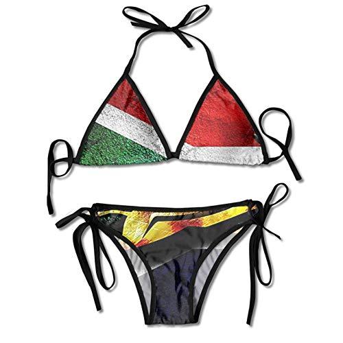 smartgood Bikini da Donna Set da Bagno con Bandiera del Sud Africa Costume da Bagno Push-up con Scollo all'Americana Costume da Bagno a Triangolo Nero