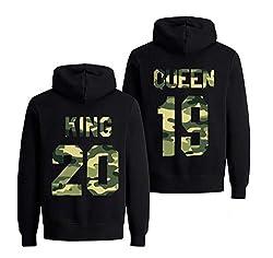 Daisy for U Pärchen Hoodie Set King Queen Pullover für Zwei Kapuzenpullover Couple Mr Mrs Kapuzenpulli 2019 1 Stücke,Queen, Damen, Damen  Schwarz / Camouflage, M