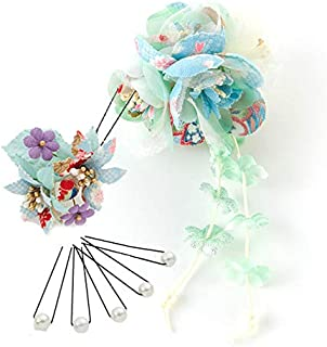 [ミッシュキッシュ]髪飾り ヘアアクセサリー 和装アレンジセット 小花3輪と下がりのクリップとちりめん2輪花Uピン、キラキラパールのUピン5本の7点セット 4500-003