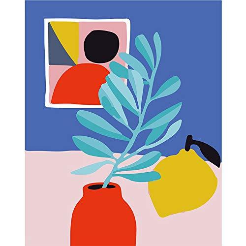 LiangFeis DIY ölgemälde Zitronenvase.Hand Made Paint Hochwertige Leinwand Schöne Malerei Nach Zahlen Überraschungsgeschenk Große Leistung 40x50cm ohne Rahmen