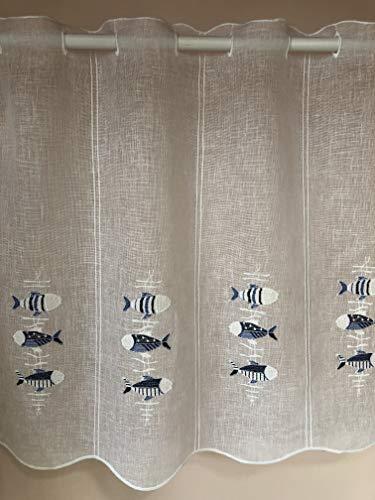 Rideau brise-bise vitragePoly/lin blanc motif poissons bleus