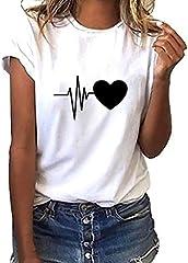 Corazón Impresión Blusa Camisa Cuello Redondo Promociones Verano Blusa Mujer Top