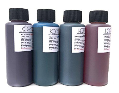 4 X Botellas de tinta comestible de 100ml compatible con impresoras Canon. Bramacartuchos, envío desde Madrid (4 Colores)