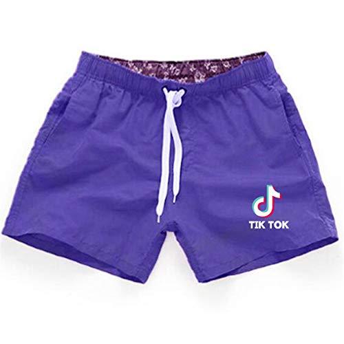 Verano Pantalones de Playa de Secado rápido TIK Tok Pantalones Cortos de Playa Casuales Pantalones Cortos Deportivos Hombres Mujeres Pantalones Cortos Púrpura L