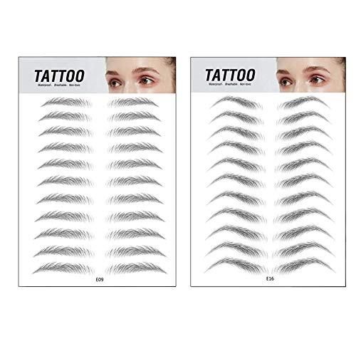 Top Beauty 2Pcs 4D Authentic Eyebrows Like Hair, Natural Tattoo Eyebrow Stickers, Waterproof Long Lasting Brow Shaper Makeup Eyebrow Transfers For Women Men-Set 3