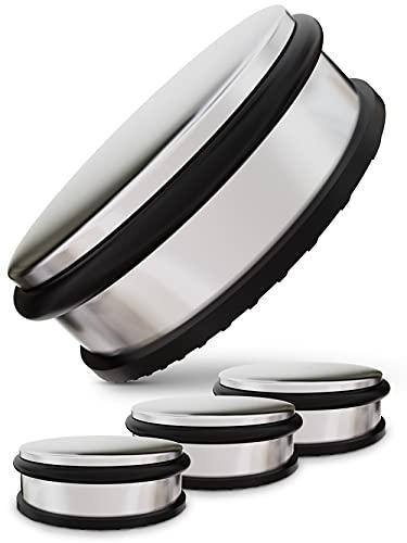 Tope para Puerta - Juego de 4 - Acero Inoxidable - Retenedor para Suelo - Con 4 Anillos de Silicona de Repuesto - 1,1kg