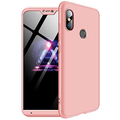 MYLBOO Funda Xiaomi Mi A2 Lite,[3 en 1] 360 Grados de protección total del cuerpo,[A prueba de golpes] Mate Estuche rígido de PC ultradelgado para Xiaomi Mi A2 Lite (Oro rosa)
