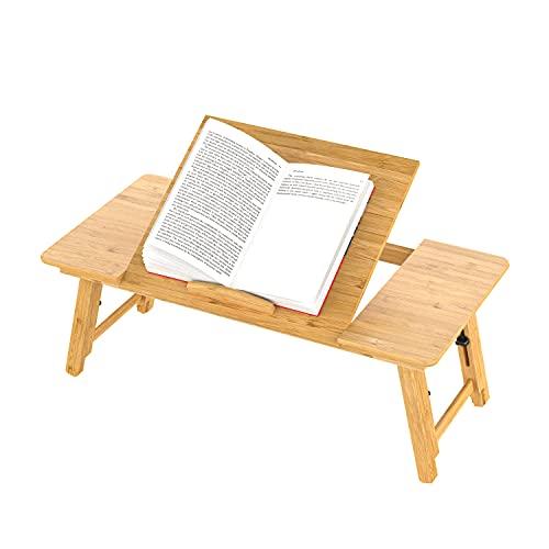 Mesa para Ordenador portátil, Mesa Plegable de Bambú Ajustable Tableta para Cama o Sofa Bandeja