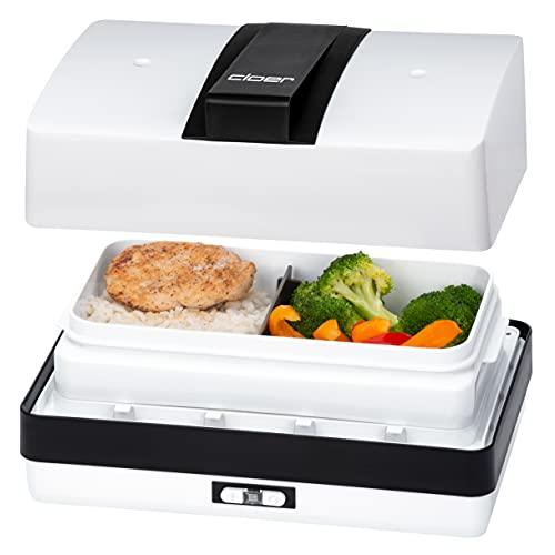Cloer 800MBX Menübox Steamer-zum Aufwärmen von Speisen-inkl 1,2 l, Tablett und Messbecher herausnehmbarer Träger Edelstahlkochplatte, kombinierbar Lunchbox-Sets, Weiß, 1,2 Liter