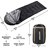 Envelope Sleeping Bag - 3-4 Seasons Warm Cold Weather Lightweight, Portable, Waterproof Compression Sack Adults & Kids - Indoor & Outdoor Activities: Traveling, Camping, Backpacking, Hiking, Dark Grey