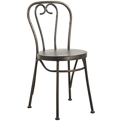 PEGANE Chaise bistrot en métal Noir Antique - Dim : 46 x 51 x 85 x H 45 cm