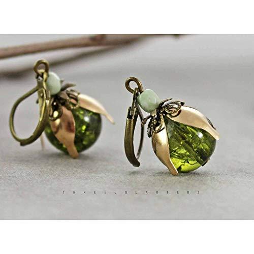 Ohrringe, olivgrün, lindgrün, gold, Perlen, Vintage, antik, Bronze, edel, elegant, grün