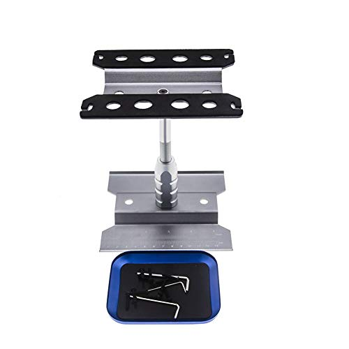 Aluminum Alloy RC Car Work Stand Repair Workstation&Screws Tray 360 Degree Rotation Lift&Lower for 1/8 1/10 1/12 Scale Cars Trucks Buggies