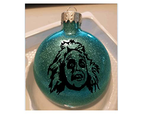 Merch Massacre Beetlejuice Teal Glitter Horror Holiday Ornament Glass Disc