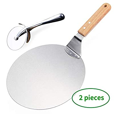10-Inch Pizza peel paddle With a pizza knife,Premium Stainless Steel ?With The Round-Handle Pizza Cutter,pizza stone for Baking, Homemade Pizza and Bread