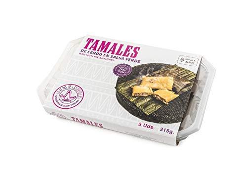 La Reina de las Tortillas - Leader europeo nella gastronomia artigianale messicana. 'Tamales' con carne di maiale in salsa verde. Mais 100% 'nixtamalizado'. Vassoio di 3 unità. Scadenza 7 mesi