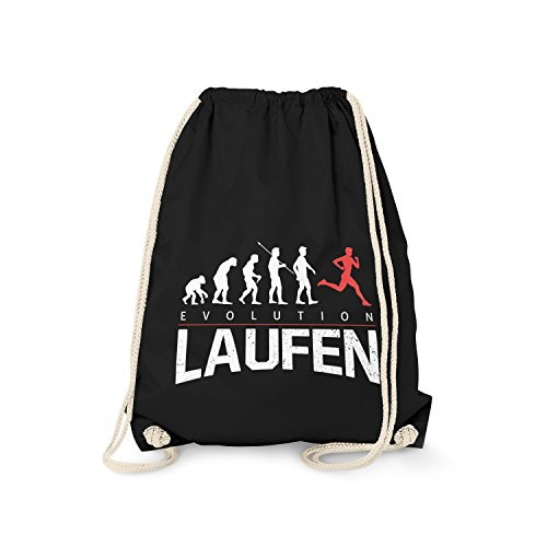 Fashionalarm Turnbeutel - Evolution Laufen | Fun Rucksack mit lustigem Motiv als Geschenk Idee Läufer Laufen Running Jogger Jogging Lauf Sport, Farbe:schwarz