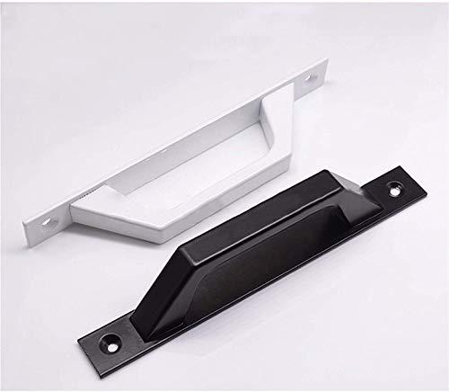 RTUTUR Mango, 2 unids Aleación de Aluminio Negro/Blanco Puerta de Puerta Puerta Puerta Pull Thole 20mm para Puerta corredera de Metal y Madera (Color: Blanco + Negro)