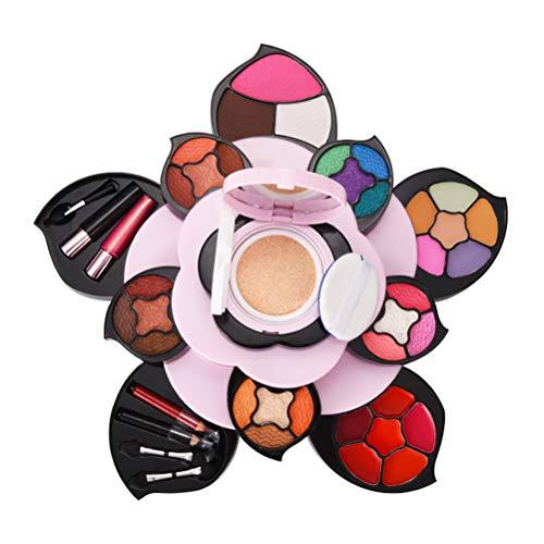 Conjunto de Paleta de Maquillaje, Paleta de Sombras de Ojos Flor Giratoria Paleta de Maquillaje Multifuncional Placa Correctora de Lápiz Labial Paleta de Maquillaje para Cosméticos Kit de Maquillaje