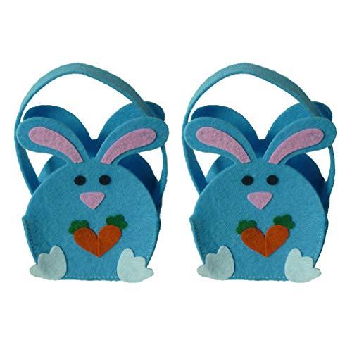 Amosfun 2 stks Pasen Snoep Tassen Kuiken Ontwerp Geschenk Tas Handtassen Cookie Opslag Favor Pouch Eieren Mand voor Pasen Party benodigdheden (Sky Blue)