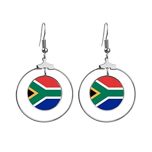 Zuid-Afrika Nationale Vlag Afrika Land Oorbellen Dangle Hoop Sieraden Drop Cirkel