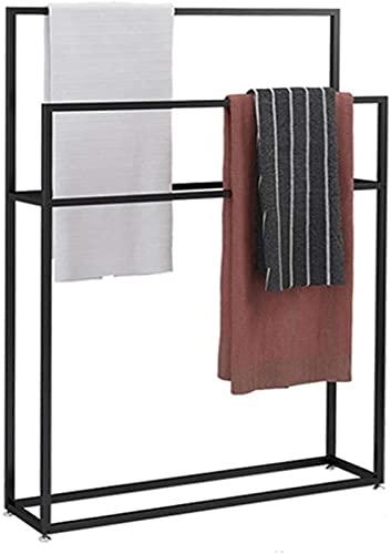Toallero independiente, 2 niveles, 4 barras Soporte de barra de toalla de metal, soporte de barra de toalla de baño, resistente, resistente y resistente a la oxidación para edredón, manta, toallas d