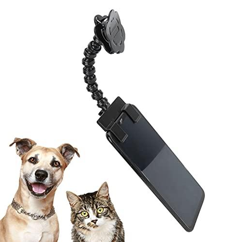 Sren Palo para Selfies para Mascotas, ángulo de Clip para teléfono Ajustable con Clip en Forma de Flor para Suministros para Mascotas para Uso en el hogar al Aire Libre(Black)
