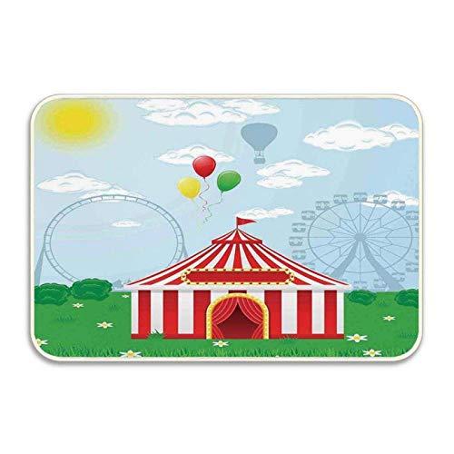 N/A Felpudo Entrada Impreso en 3D Decoraciones para Fiestas Tapetes para Puertas Circo Carpa de Circo en la Naturaleza Nubes Sol Hierba Pradera Ocio Felpudo al Aire libre-40X60CM