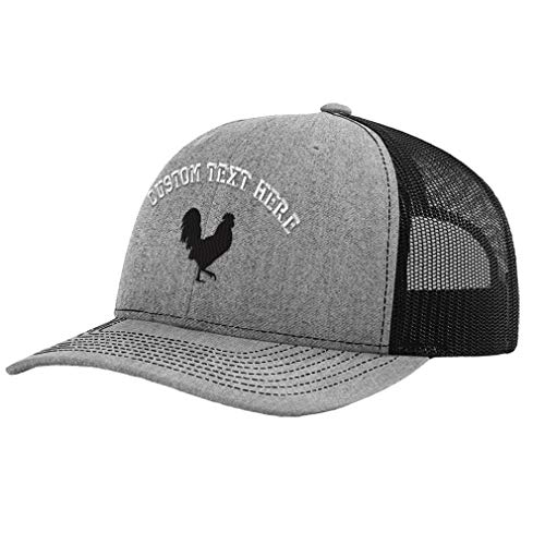 Custom Baseball Cap Rooster Shadow Cock Silhouette Embroidery Polyester Mesh Baseball Cap Snapback Heather Grey Black Personalized Text Here